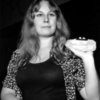 Sandy with her quartz Melody Maker award for her consecutive win as Best Female Singer in 1971